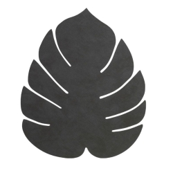 Image of   Dækkeserviet LINDDNA monstera blad - sort