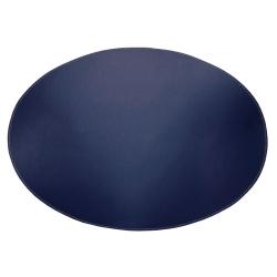 Image of   Dækkeserviet oval i læder - marineblå