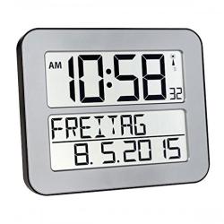 Image of   Digital vægur radiokontrolleret dansk tekst - sølvfarvet