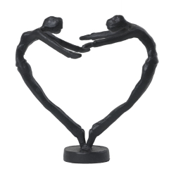 Figur mennesker hjerte - sort metal