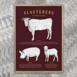 gehalt – Gehalt plakat slagterens udskæringer - bordeaux fra fenomen