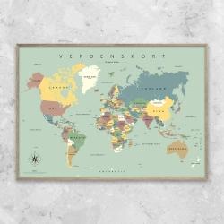 gehalt – Gehalt plakat verdenskort - blå/grøn fra fenomen