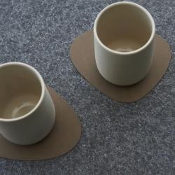 Image of   Glass mat curve - natur nupo læder - 4 stk.