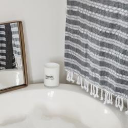 meraki – Hammam håndklæde sort/hvid - large på fenomen