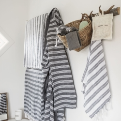 Hammam håndklæde hvid/sort - small