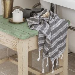 meraki Hammam håndklæde sort/hvid - small fra fenomen