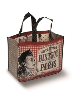 et flot indkøbsnet med 'bistro paris' og et billede af kvinde broderet uden på
