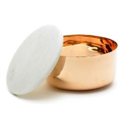Image of   Kobber skål med marmor låg - large