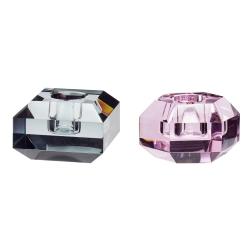 Lysestager fra hübsch i glas - rosa og grå fra hübsch fra fenomen