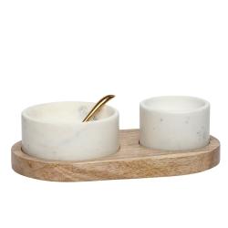 Image of   Træholder med 2 marmor skåle