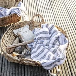 Hammam håndklæde hvid/sort - large