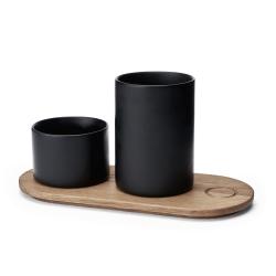 Image of   Træbakke med 2 krukker - Morsø