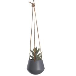 Image of   Blomster krukke hængende i grå - small