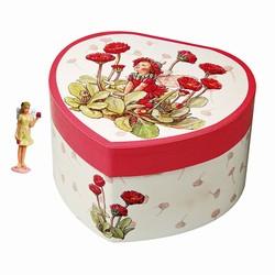 cinas Hjerte smykkeskrin med røde margueritter på fenomen