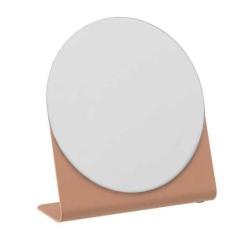 Image of   Rund spejl med rosa fod