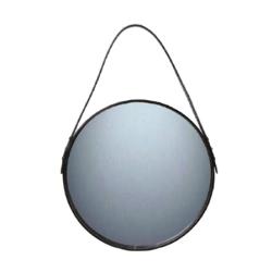 Spejl med sort læder – 40 cm