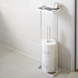 Image of   Toiletrulleholder til gulv med hylde - hvid