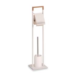 Image of   Toiletrulleholder til gulv - hvid og træ