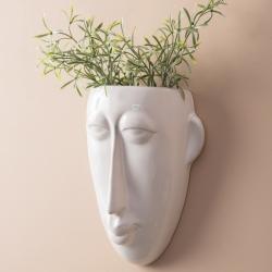 Image of   Urtepotte til væg - Mask hvid