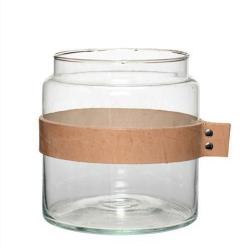 Billede af Vase i glas med læderrem