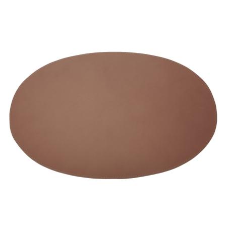 Dækkeserviet oval i læder - cognac