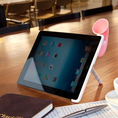 Horn Stand til iPad - hvid/pink