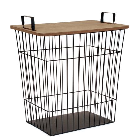 Bord i metal med træ plade - bord med opbevaring