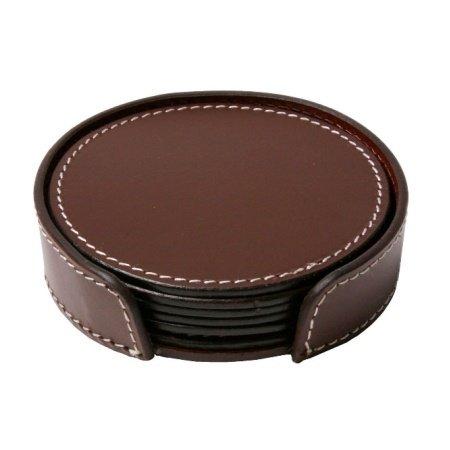 Læder glasbrikker - mørk brun