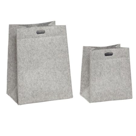 7c025d21d48 Kurve i lys grå filt opbevaringskurve 2 stk Hübsch design kurve