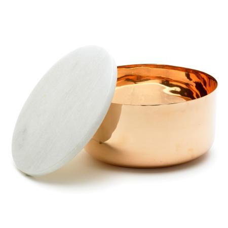 Kobber skål med marmor låg - large