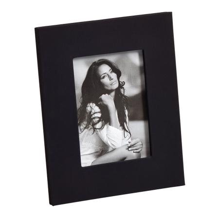 Sort læder fotoramme - 15x20 cm