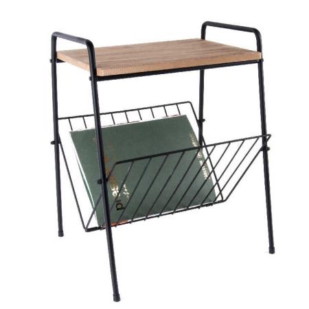 lille bord Bord i metal og træ magasinholder under bord   sidebord til kaffe lille bord