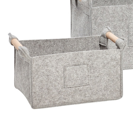 Lys grå filt kurv - lille