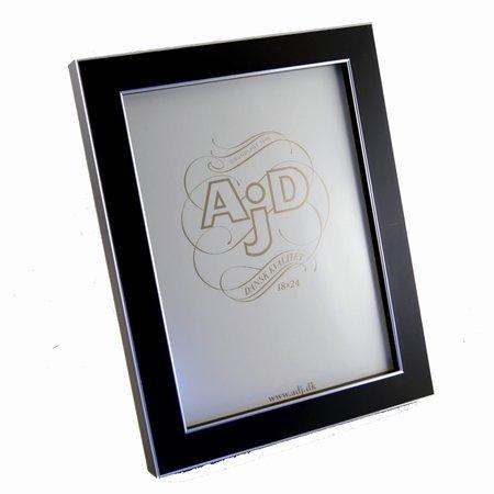 Træ fotoramme i sort og sølv 18x24 cm