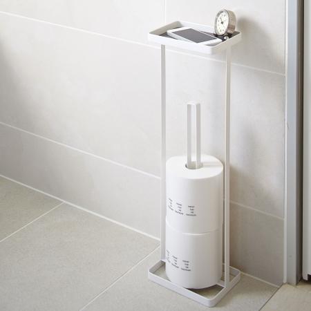 Splinterny Toiletrulleholder til reserve ruller med bakke - hvid - YAMAZAKI HW66