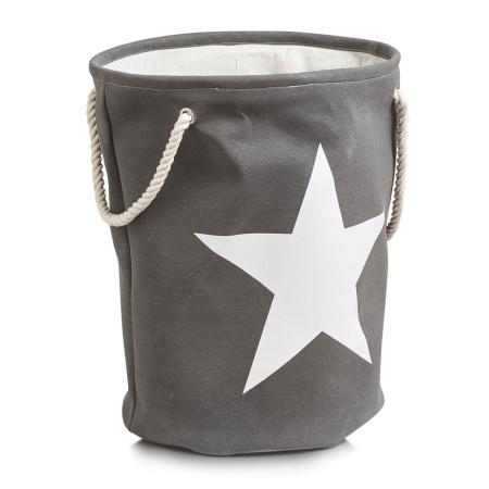 Vasketøjskurv med stjerne - grå